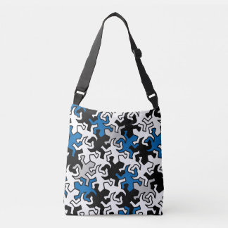 Mosaic Mirror Geckos Pattern - blue black white Crossbody Bag