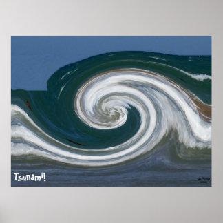 Mosaic Modern Abstract Art Tsunami! Poster Print