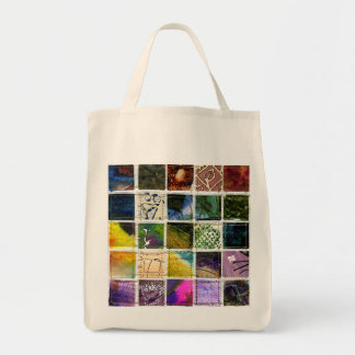 Mosaic of abstract squares of different techniques grocery tote bag