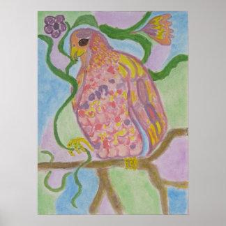 mosaic parrot poster
