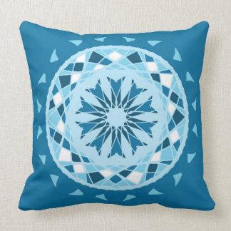 Mosaic patchwork country blues mandala throw pillow