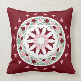 Mosaic patchwork mandala burgandy pink green throw pillow