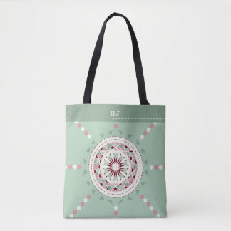 Mosaic patchwork mint green and pink mandala tote bag