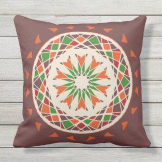 Mosaic patchwork of autumn fall mandala throw pillow
