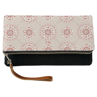 Mosaic patchwork red and beige abstract mandala clutch