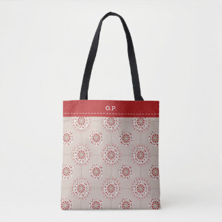 Mosaic patchwork red and beige abstract tote bag