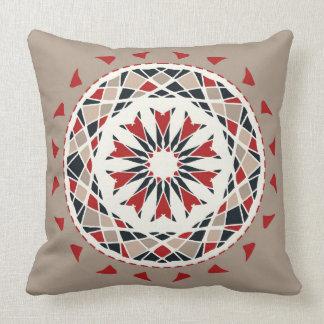 Mosaic patchwork red, black, beige mandala throw pillow