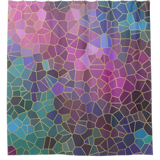 Mosaic Pattern of Pink Purple Teal Blue Green Gold