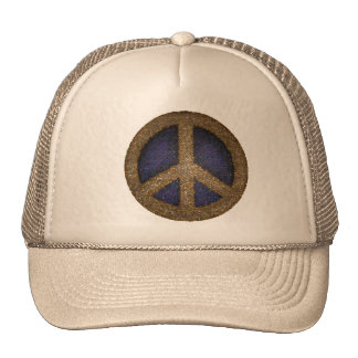 Mosaic Peace Sign in Golds and Blues Mesh Hats
