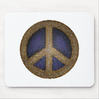 Mosaic Peace Sign in Golds and Blues Mouse Pad
