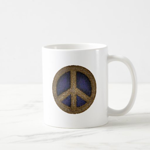 Mosaic Peace Sign in Golds and Blues Coffee Mugs