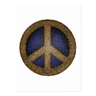 Mosaic Peace Sign in Golds and Blues Postcard
