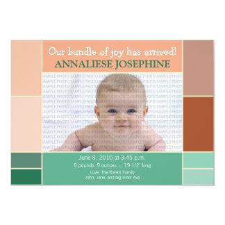 Mosaic Peach Designer Baby Birth Announcement