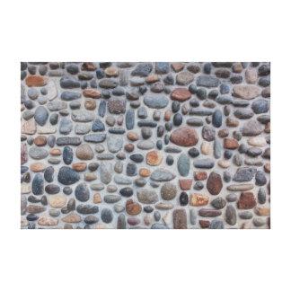 Mosaic Pebble Stone Wall Design Canvas Print