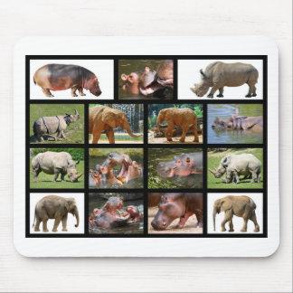 Mosaic photos big animals mouse pad