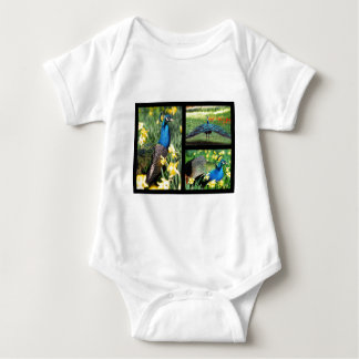 Mosaic photos Indian peafowls Baby Bodysuit