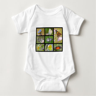 Mosaic photos of butterflies baby bodysuit