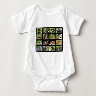 Mosaic photos of monkeys baby bodysuit