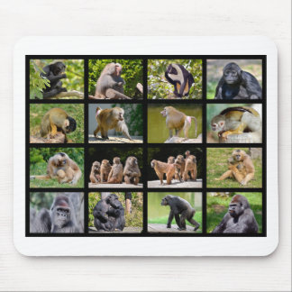 Mosaic photos of monkeys mouse pad