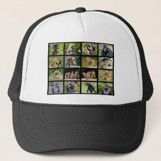 Mosaic photos of monkeys trucker hat
