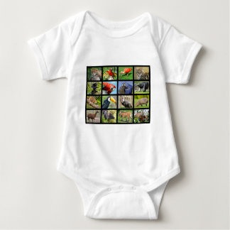 mosaic photos South American animals Baby Bodysuit