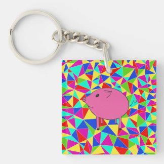 Mosaic PiGgy! Double-Sided Square Acrylic Keychain