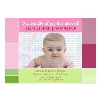 Mosaic Pink Designer Baby Birth Announcement