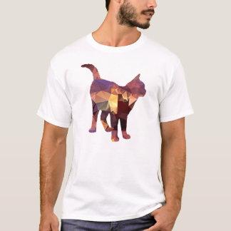 Mosaic Polygon Standing Calico Cat Brown & Tan T-Shirt