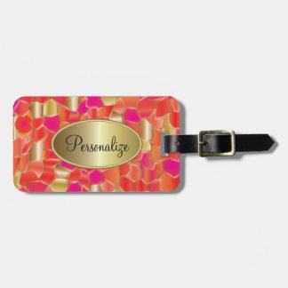 Mosaic Popular Orange, Pink and Gold Design Luggage Tag