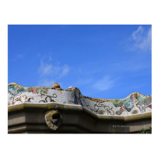 Mosaic railings in Gaudi's Park Guell Postcard