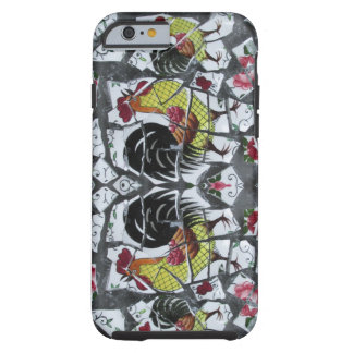 Mosaic Rooster pink rose phone case