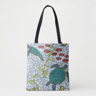 Mosaic Sea Turtles and Tropical Fish Tote Bag