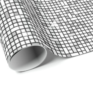 Mosaic Sparkle Squares Silver SSTX Wrapping Paper