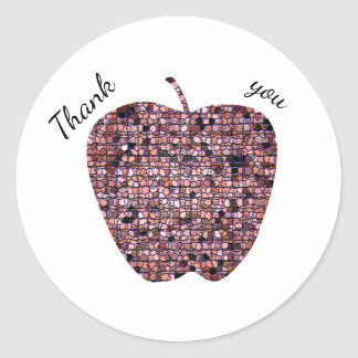 Mosaic Stained Glass Apple Teacher Thank You Classic Round Sticker