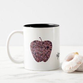 Mosaic Stained Glass Apple Teacher's Name Two-Tone Coffee Mug