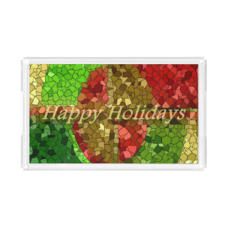 Mosaic Stained Glass Look Happy Holidays Acrylic Tray