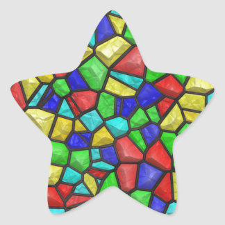 Mosaic Stained-glass Window. Retro Vintage Pattern Star Sticker