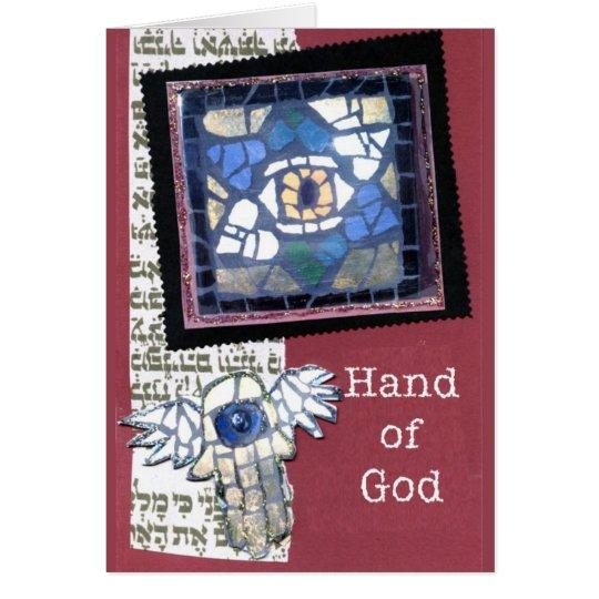 Mosaic Star of David and Hand of God Card