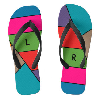 MOSAIC stripes triangles colored III + your ideas Flip Flops