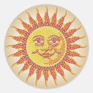 Mosaic Sun Classic Round Sticker