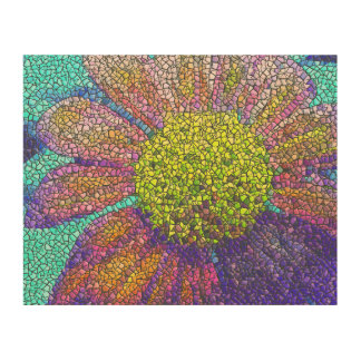 Mosaic Sunflower Burst Wood Wall Art Wood Prints