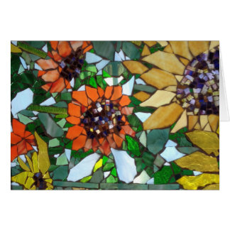 Mosaic Sunflower greeting card by Willowcatdesigns