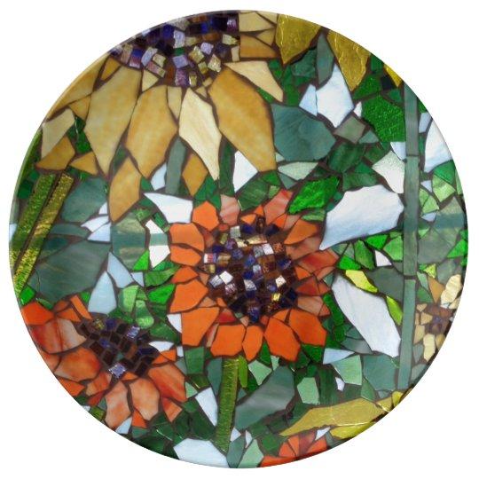 Mosaic Sunflower Plate Porcelain Plates