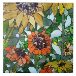 Mosaic Sunflowers Tile