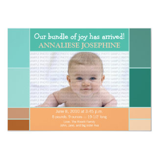 Mosaic Teal Designer Baby Birth Announcement