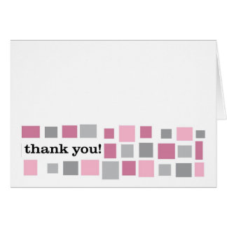Mosaic Thank You Note -- Pink and Gray Card