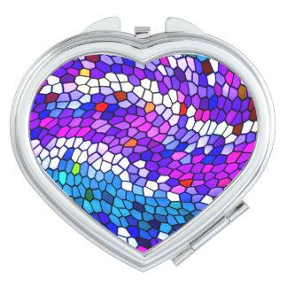 Mosaic Tile Pattern Pink Purple Compact Mirror