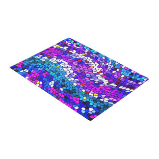 Mosaic Tile Pattern Purple Blue Pink Door Mat