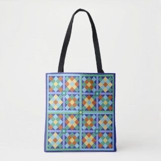 Mosaic tiles Moroccan colours blue and terracotta Tote Bag
