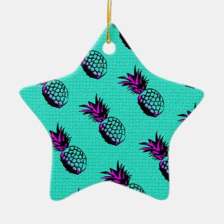 mosaic turquoise blue pineapple pattern ceramic ornament